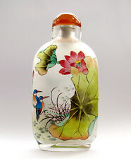 CHINESE INSIDE HAND PAINTED Twin Birds Lotus Leaf SNUFF BOTTLE