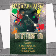 Paintballing Paintball Activity Birthday Party Invitations x 12 with envelopes