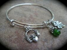 Adjustable Wire Bangle Bracelet with Claddagh and Four Leaf Clover Charms Irish