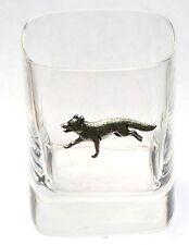 Fox Running Pewter Motif Pair of Crystal Tumblers Presentation Box Hunting Gift