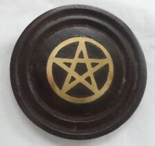 "Black & Gold Wooden Pentagram Coaster / Altar Tile 3"" (Wicca Witch Pagan)"