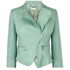 KAREN MILLEN MINT GREEN BUTTER SOFT LEATHER JACKET, UK 10