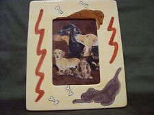 """CUTE CERAMIC PICTURE FRAME DACHSHUND W/PICTURE OF ALL THREE COATS, 4"""" X 6"""" PHOTO"""