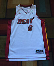 Lebron James #6 Miami Heat Basketball Jersey Mens sz L NBA Adidas White SEWN