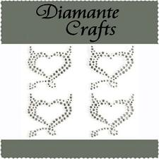 4 x 32mm Clear Diamante Devil Hearts Rhinestone Self Adhesive Vajazzle Body Gems