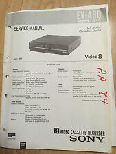 Sony Service Manual Set for the EV-A80 Video 8 VCR Video Cassette Recorder