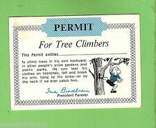 #D258.  SCARCE  1968 SCANLENS  GUM PERMIT  CARD - FOR TREE CLIMBERS