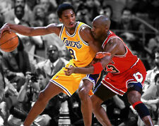 Bulls MICHAEL JORDAN & LA Lakers KOBE BRYANT Glossy 8x10 Photo Spotlight Poster