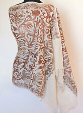 Crewel Embroidered Shawl. Ivory Wool Stole with Brown Kashmir Embroidery. India