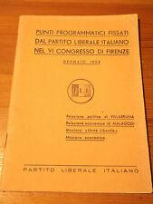 PUNTI PROGRAMMATICI PARTITO LIBERALE VI CONGRESSO DI FIRENZE 1953 MALAGODI  L-5