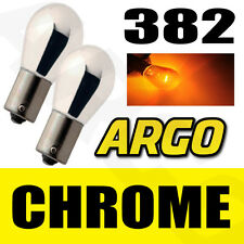CHROME SILVER AMBER FRONT INDICATOR BULBS 382 BA15S P21W TURN SIGNAL PINS 12V