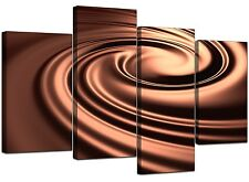 Large Brown Abstract Canvas Wall Art Pictures 130cm XL Prints Set 4061