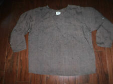 FLAX ANGELHEART BROWN TWEED CROPPED BOXY TUNIC LINEN SHIRT OVER SIZE  SMALL