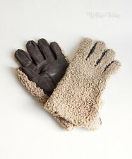 Vintage 1960s Brown Curly Fur & Leather Palm Winter Gloves Size 8½ FREE UK P&P