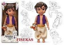 Disney Store Animators Collection Prince Aladdin Boy Doll 16 inch w/ Pet Abu NEW