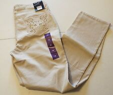 NINE WEST STRAIGHT FIT ROSEMARY JEANS NWT SZ 16 CREAM STONE COLOR FREE SHIPPING
