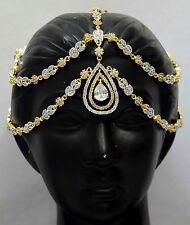 Matha Patti Tikka Gold Indian Jewelry Bollywood Bridal AD Royal Maang Tikka f7m1