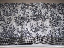 BLACK ON WHITE~WAVERLY Rustic Toile W/ Gingham Ck Trim STRAIGHT Valance CURTAINS