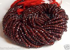 "13"" strand MOZAMBIQUE GARNET faceted rondelle gem stone beads 3mm - 3.5mm red"