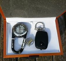 Calibri Carabiner/Clip Watch and Key Chain LED Flashlight Set in Wooden Gift Box