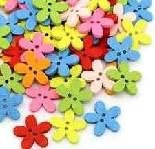100PCs Mixed Colors 2 Holes Wood Buttons Sewing Scrapbooking Flowers Shaped