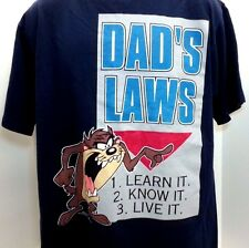 """Vintage Looney Tunes Taz """" Dads Law"""" Graphic T Shirt"""