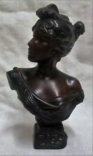 "6"" Art Nouveau Bronze Bust ""Circe"" by E. Villanis Circa 1890"