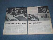 """1962 Indy 500 Race Preview Article """"Turbines & Detroit V8's for Indy"""""""