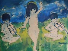 ROGER ETIENNE (20th C; France);Modernist Gouache & W/C, CHILDREN & MUSIC,Signed