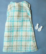Vtg Mod Barbie Tressy Clone Fashion Blue Plaid Sleeveless Dress White Mule Shoes