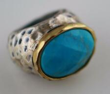 Glow By SHEILA FAJL faceted turquoise color stone silver & gold tone Bold Ring