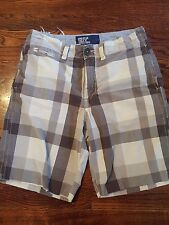 American Eagle Men's Plaid Shorts Brown Grey Flat Front Size 30 Zipper Fly