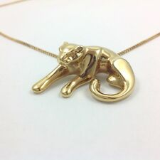14K YELLOW GOLD 3D JAGUAR CAT CHAIN NECKLACE 20''