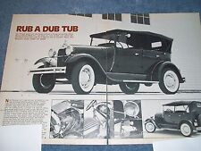 """1929 Ford Model A Touring Sedan Vintage Article """"Rub A Dub Tub"""""""