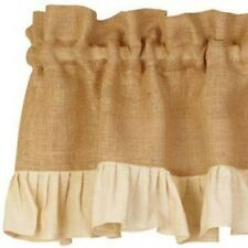 New BURLAP CREAM  RUFFLE VALANCE Curtain Window Swag Primitive Country Lace