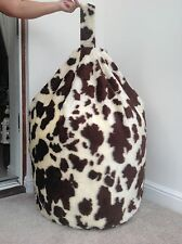 ADULT BROWN COW BEAN BAG COVER ONLY FAUX FUR LARGE 6cft SIZE NEW LUXURIOUS