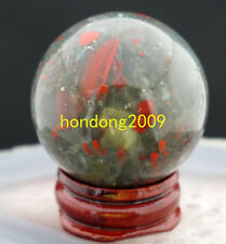 NATURAL BLOODSTONE crystal ball healing SPHERE 40MM + STAND