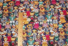 Robert Kaufman Teddy Bear Cowboy Foodball Player Gardener Costume Fabric BTY
