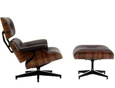 Eames Inspired Lounge Chair Ottoman WALNUT wood Genuine BROWN Italian Leather