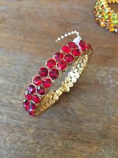New Ruby Red CZ Crystal Bezel Set 2 row Tennis Bangle Bracelet Magnetic clasp