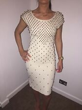 Temperley Cream Knitted Bodycon Dress With Gold Embellished Beads Size 10