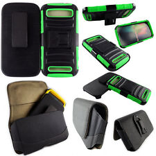 For ZTE Warp SYNC N9515 Cell Phone Case Hybrid Hard Cover + Belt Clip Green