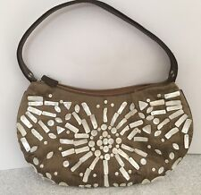 White House Black Market WHBM Brown Small Purse Handbag with White Shells