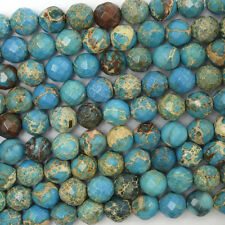 "8mm faceted sky blue sea sediment jasper round beads 15.5"" strand"