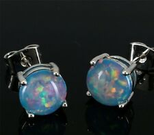 ***UK SELLER**Silver/Rhodium Plated POWDER BLUE FIRE OPAL STUD Earrings
