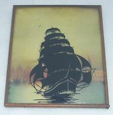 Clipper Ship Antique Silhouette Picture in Frame Reverse Painted Convex Glass