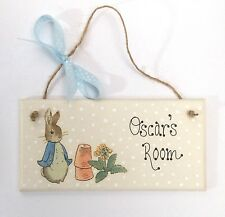 Handpainted Beatrix Potter Peter Rabbit Personalised Name Door Plaque Sign Gift