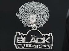"THE BLACK WALL STREET SILVER TONE PENDANT CHARM 36"" ROPE CHAIN HIPHOP BLING RARE"