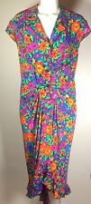 ROCCOBAROCCO Bright Floral Print 100% Silk Dress Made in Italy (4) Vintage