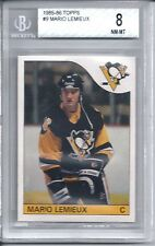 1985 Topps Hockey #9 Mario Lemieux Penguins Rookie Card BGS NM-MT 8